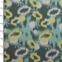 Aqua, Grey, Yellow, and White Ikat Oval Print Midweight 4-way Stretch Knit