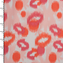 Soft Coral, Pink and Orange Ikat Oval Print Midweight 4-way Stretch Knit