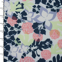 Blue, Green, and Orange Island Floral on White 4-way Stretch Nylon/Lycra Print