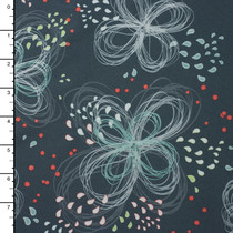 Aqua and White Sketchy Floral on Charcoal Grey 4-way Stretch Nylon/Lycra Print