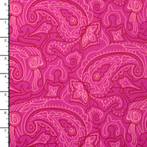 Pink and Burgundy Paisley Outlines on Hot Pink 4-way Stretch Nylon/Lycra