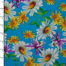 White and Yellow Daisy Print on Aqua Stretch ITY Knit