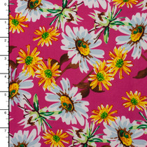 White and Yellow Daisy Print on Hot Pink Stretch ITY Knit