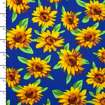 Yellow Sunflower Print on Blue Stretch ITY Knit
