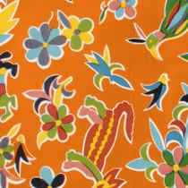 """Aztec"" Tangerine Orange Oilcloth"