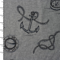 Black/Grey 'Nautique' Print Cotton Chambray by Robert Kaufman