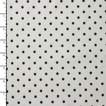 Black on White Polka Dot Midweight Stretch Cotton Poplin