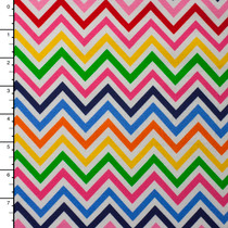 Red, Pink, Blue, Yellow, and Green Chevron 4-way Stretch Jersey