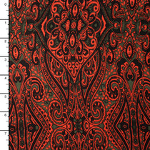 Brown and Neon Orange Scrollwork Pattern Rayon Challis