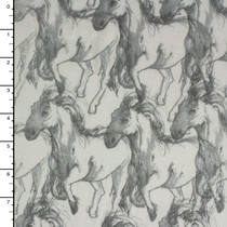 Sketchbook Style Horses On White Rayon Jersey Print