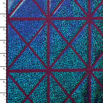 Turquoise on Wine Geometric Holographic 4-way Stretch Nylon/Lycra