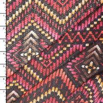 Vibrant Pink, Gold, and Red Art Deco Tribal Sweater Knit