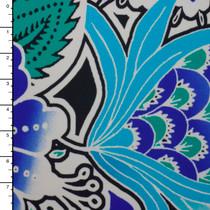 Blue and Mint Floral Pattern Designer Nylon/Lycra #15294