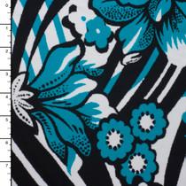 Teal/Black Floral Pattern Designer Nylon/Lycra #15276
