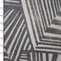 Grey and Offwhite Slubbed Abstract Jersey Knit Print #15311