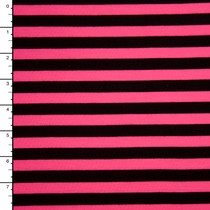 Black and Neon Pink Stripe Jersey Knit