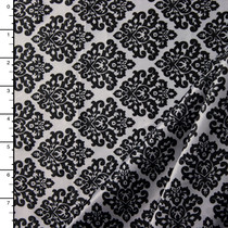 Black and White Damask Charmeuse Satin Print