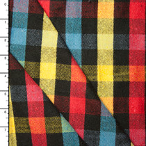 Red, Blue, Yellow, and Black Plaid Flannel #15371