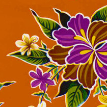 """Hibiscus"" Orange Oilcloth"
