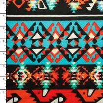 Orange and Turquoise Tribal Bohemian Stripe Lightweight Sweater Knit #15372