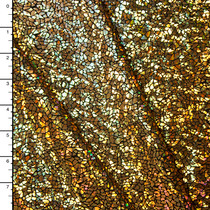 Cracked Pattern Gold on Black Holographic Metallic 4-way Stretch Spandex