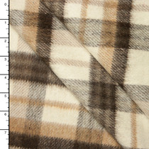 Ivory, Tan, and Brown, Plaid Wool Coating #15393