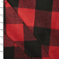 Deep Red and Black Buffalo Plaid Wool Coating