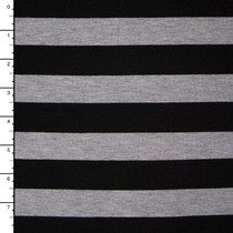 Light Grey Heather and Black Stripe Jersey Knit