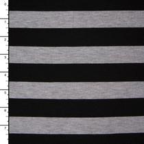Light Grey Heather and Black Stripe Jersey Knit