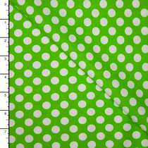 Lime and White Dots Lightweight Cotton Poplin