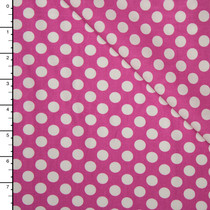 Fuschia and White Dots Lightweight Cotton Poplin