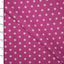 White on Fuschia Polka Dots Lightweight Cotton Poplin