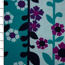 Aqua. Teal, and Purple 'Aunties Attic Canvas' by Robert Kaufman