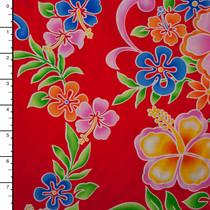 Neon Hibiscus' on Red Cotton Hawaiian Print