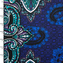 Blue, Purple, and Aqua Paisley Print 2-way Stretch Cotton Twill
