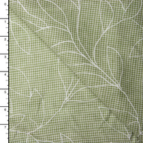 White Leaves on Sage Green Gingham Linen
