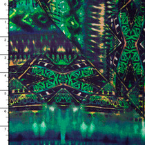 Green, Purple, and Teal Bohemian Tribal Print Rayon Challis