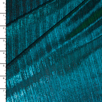 Teal on Black Lined 4-way Stretch Metallic