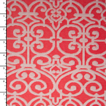 Offwhite and Coral Embossed Ornate Pattern Nylon/Lycra