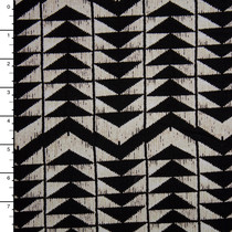 Ivory and Black 4-way Stretch Geometric Print Jersey Knit