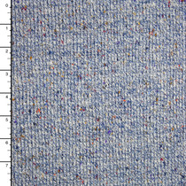 Heather Blue with Colored Specks Narrow Ribbed Heavyweight Sweater Knit
