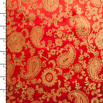 Gold and Red Paisley Designer Brocade