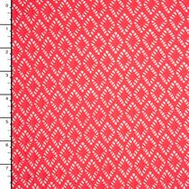 Hot Coral Diamond Pattern Stretch Lace
