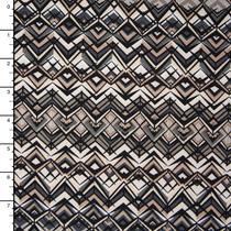 Black, Ivory, Grey, and Tan Geometric Poly/Lycra Print