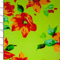 Red Orange Flowers on Neon Lime ITY Knit