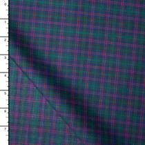 Navy, Green, and Red Tartan Plaid Poly/Cotton Shirting