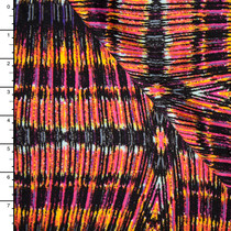 Pink, Black, and Yellow Kaleidescope Burst Print Rayon Challis
