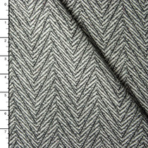 Grey and White Lined Chevron Pattern Wool Coating