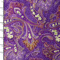 Lavender and Gold Paisley Pattern Minky