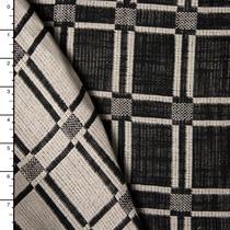 Rectangle Pattern Loose Weave Heavy Cotton Linen Jaquard